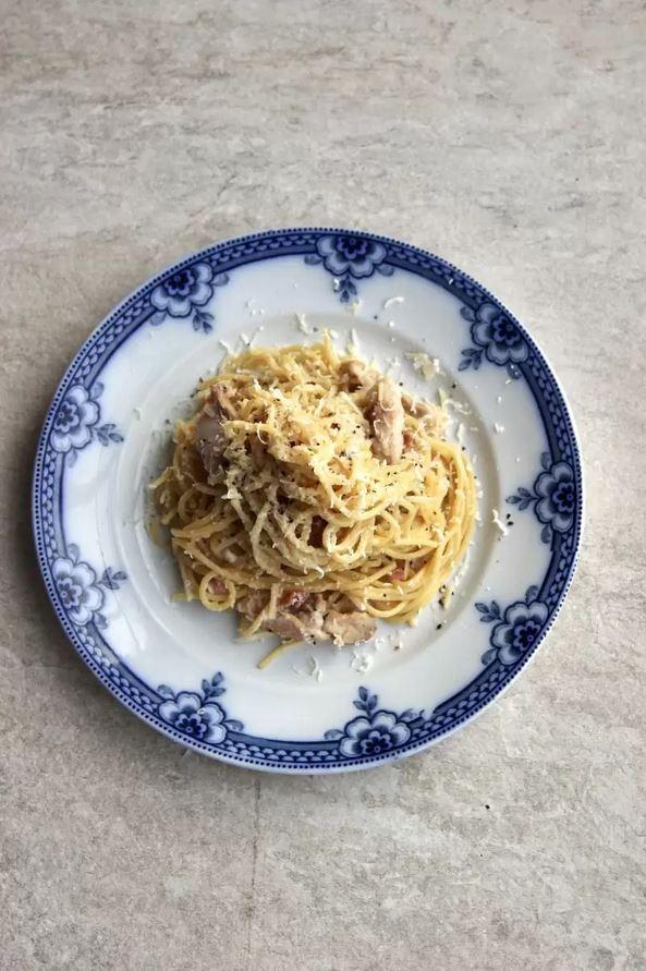 Pasta Carbonara con Espaguetis